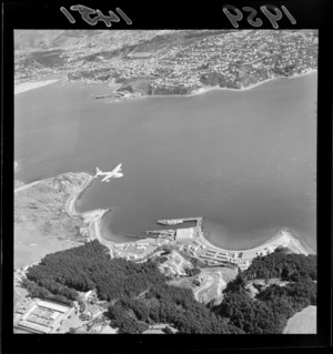 Aerial view of Shelly Bay, with Mount Crawford Prison, and a flying boat