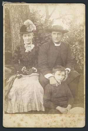 Unidentified clergyman and his childen - Photographed by Mrs Williams