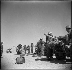 Anti tank gunners await orders to take up position on manoeuvres after the Libyan Campaign, Egypt