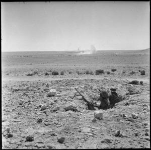 Shells landing in NZ area at Minqar Qaim, Egypt - Photograph taken by W A Whitlock