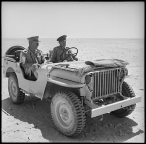 Acting Major General Inglis and his aide Captain Griffiths tour NZ positions, Egypt - Photograph taken by W A Whitlock