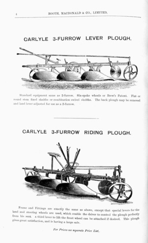 Booth, Macdonald & Co Ltd :Carlyle 3-furrow lever plough [and] Carlyle 3-furrow riding plough. [1907].