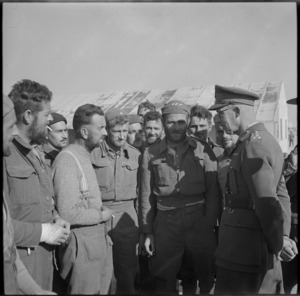 Brigadier Falconer with New Zealanders just returned from Bardia imprisonment, World War II
