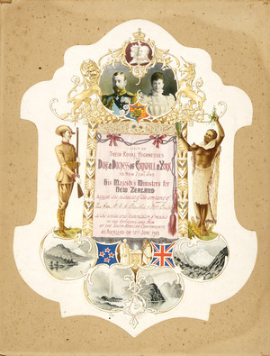 Hawcridge, Robert H, 1866-1920 :Visit of their Royal Highnesses the Duke & Duchess of Cornwall & York to New Zealand. His Majesty's Ministers for New Zealand request the pleasure of the company of ... at the review and presentation of medals to the Officers and men of the South African Contingents, at Auckland on 12th June 1901. R Hawcridge; J Wilkie & Co Lith, Dunedin, N.Z.