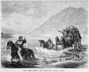 Cobb and Co's coach crossing the Waimakariri River during a flood