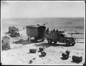 Convoy of troops and supplies going to forward areas during advance into Libya, World War II