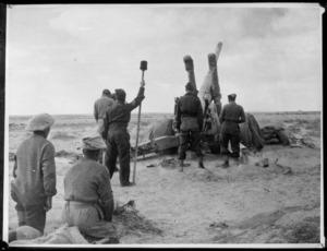 British artillery shelling enemy positions, Western Desert