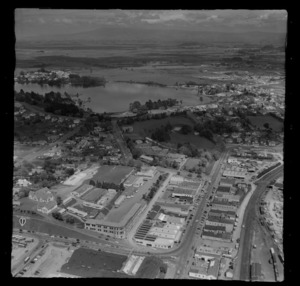 Hamilton and Lake Rotoroa, with industrial area in foreground, possibly including Hamilton Hardware Ltd