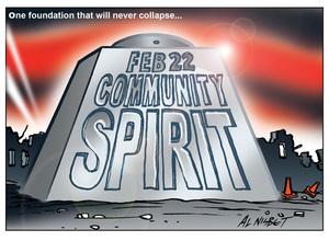Nisbet, Alistair, 1958- :'Feb 22 Community Spirit'. 21 February 2012