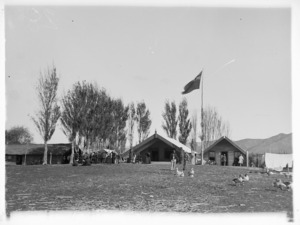 Maori parliament at Pakirikiri near Gisborne, with runanga house Poho o Rukupo
