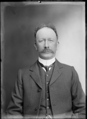 Head and shoulders studio portrait of unidentified man, with a moustache, probably Christchurch district