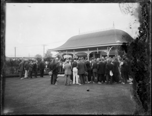 Gathering of people at the bowling club, Hawke's Bay District