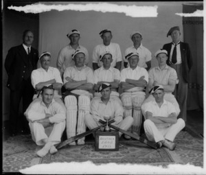 The Hastings RAOB cricket team with cup, Hawke's Bay District
