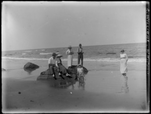 E Williams family at Mangakuri Beach, Hawke's Bay District