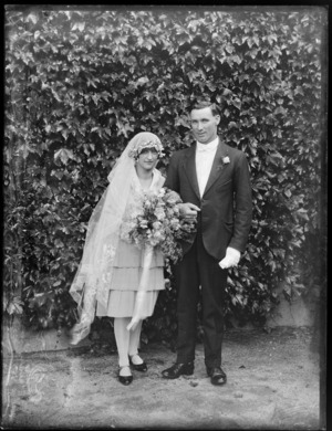 Unidentified bride and groom, probably Hawke's Bay District