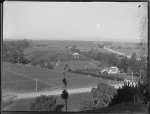 View of crops in the field, farmland, rural roads and farm house from hill, Hawke's Bay District