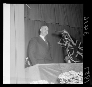 Mr K J Holyoake giving speech at the National Party Conference, Wellington