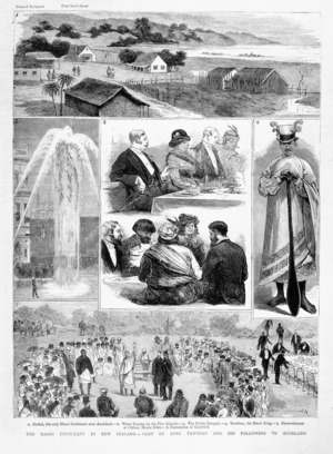 Nash, J, fl 1880s:The Maori difficulty in New Zealand - visit of King Tawhiao and his followers to Auckland. [London, The Graphic] 1882