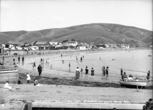 Looking across the beach at Plimmerton to the hills above the bay