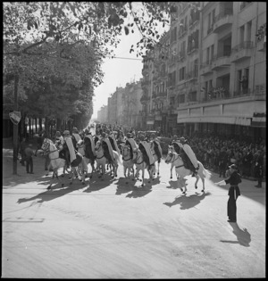 Spahis of French colonial cavalry in triumphal parade through Tunis in World War II - Photograph taken by M D Elias