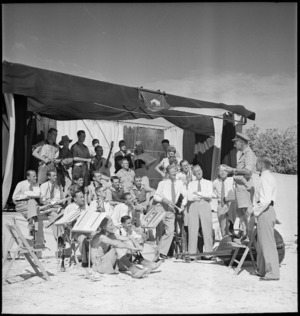 Members of Kiwi Concert Party rehearsing behind Alamein front, Egypt