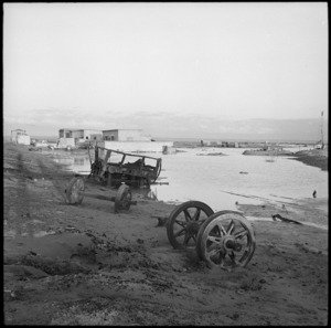 Wrecked railway vehicles at Fuka Railway Station, Egypt - Photograph taken by H Paton