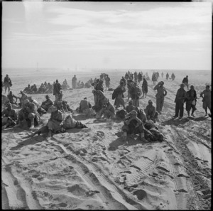 Axis prisoners on the roadside during pursuit from Alamein, Egypt - Photograph taken by H Paton