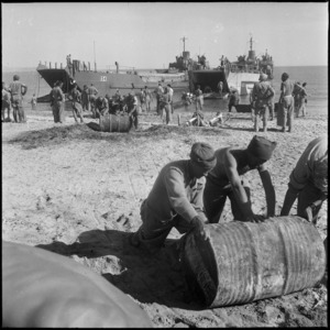 Unloading water and general supplies at Sollum, Egypt - Photograph taken by W A Whitlock