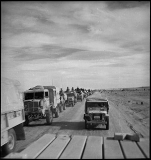 Another convoy moving out of Sollum, Egypt, World War II - Photograph taken by W A Whitlock