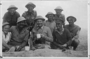 GOC joins 22nd Battalion in a cup of tea near Miteiriya, World War II - Photograph taken by Sergeant Whitty