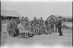 Colonel Williamson hands over keys to donated ambulances, Maadi - Photograph taken by W Timmins