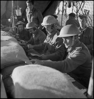 Divisional Signals office during action in the Western Desert, World War II - Photograph taken by H Paton