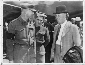 New Zealand Minister of Defence, Frederick Jones, with Brigadier William George Stevens, Officer in Charge of Administration 2 NZEF, Egypt - Photograph taken by S Wemyss