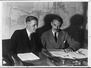 New Zealand Minister of Defence, Hon Frederick Jones, conferring with Rt Hon Richard Gavin Gardiner Casey, British Minister Resident in the Middle East