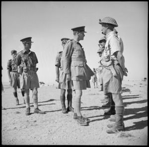 General Auchinleck talking with NZ officers on the parade in the Western Desert