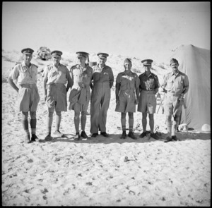 General Auchinleck with members of his staff and senior NZ officers in the Western Desert