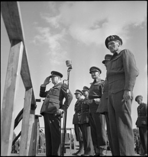 Winston Churchill takes the salute as New Zealand Division marches past in Tripoli, World War II - Photograph taken by H Paton