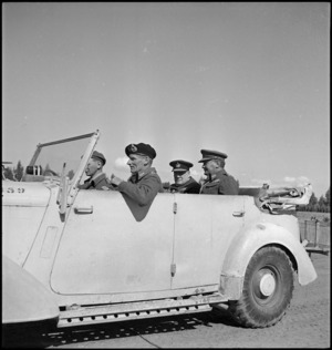 Winston Churchill in car with Generals Montgomery and Freyberg on tour of New Zealand Division in Tripoli, World War II - Photograph taken by H Paton