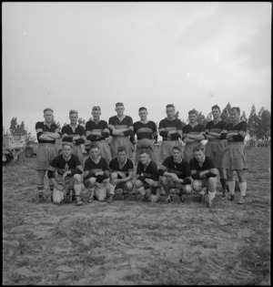 Divisional Signals Rugby Team at Tripoli, World War II - Photograph taken by H Paton
