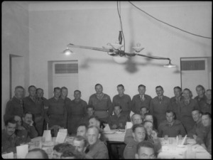 First Echelon members of Division HQ hold reunion dinner in Tripoli, World War II - Photograph taken by H Paton