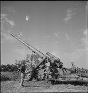 German 170mm gun captured by New Zealanders in Tunisia, World War II - Photograph taken by M D Elias