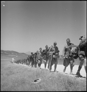 A line of Italian prisoners after the Axis collapse in Tunisia - Photograph taken by M D Elias