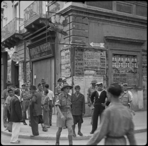 Members of the POW Sub Commission in the main street of Taranto, Italy - Photograph taken by W A Brodie