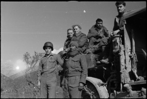 Group of soldiers on 5th Army Front, Italy, World War II - Photograph taken by G Kaye