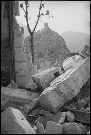 Castle Hill as seen from the ruins of Cassino, Italy, World War II - Photograph taken by George Kaye