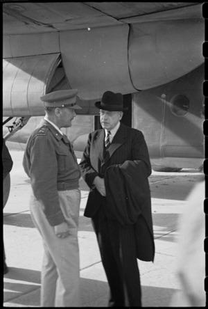 Peter Fraser talking to General Bernard Freyberg after the Prime Minister's arrival in Italy - Photograph taken by George Robert Bull