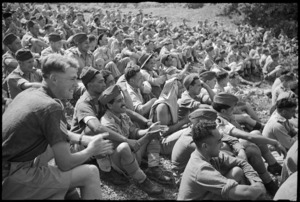 NZ troops watching first appearance in Italy of the Kiwi Concert Party, Volturno Valley - Photograph taken by George Kaye