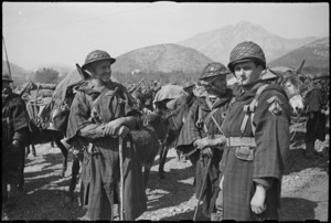French Moroccan troops combine native costume and modern fighting equipment in Italy, World War II - Photograph taken by George Kaye