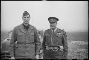 General Mark Clark and Lieutenant General Sir Bernard Freyberg at NZ Division HQ in Italy - Photograph taken by J Short