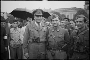 Lieutenant General Sir Bernard Freyberg with the Commander of the 9th Yugoslav Corps, Italy - Photograph taken by George Kaye